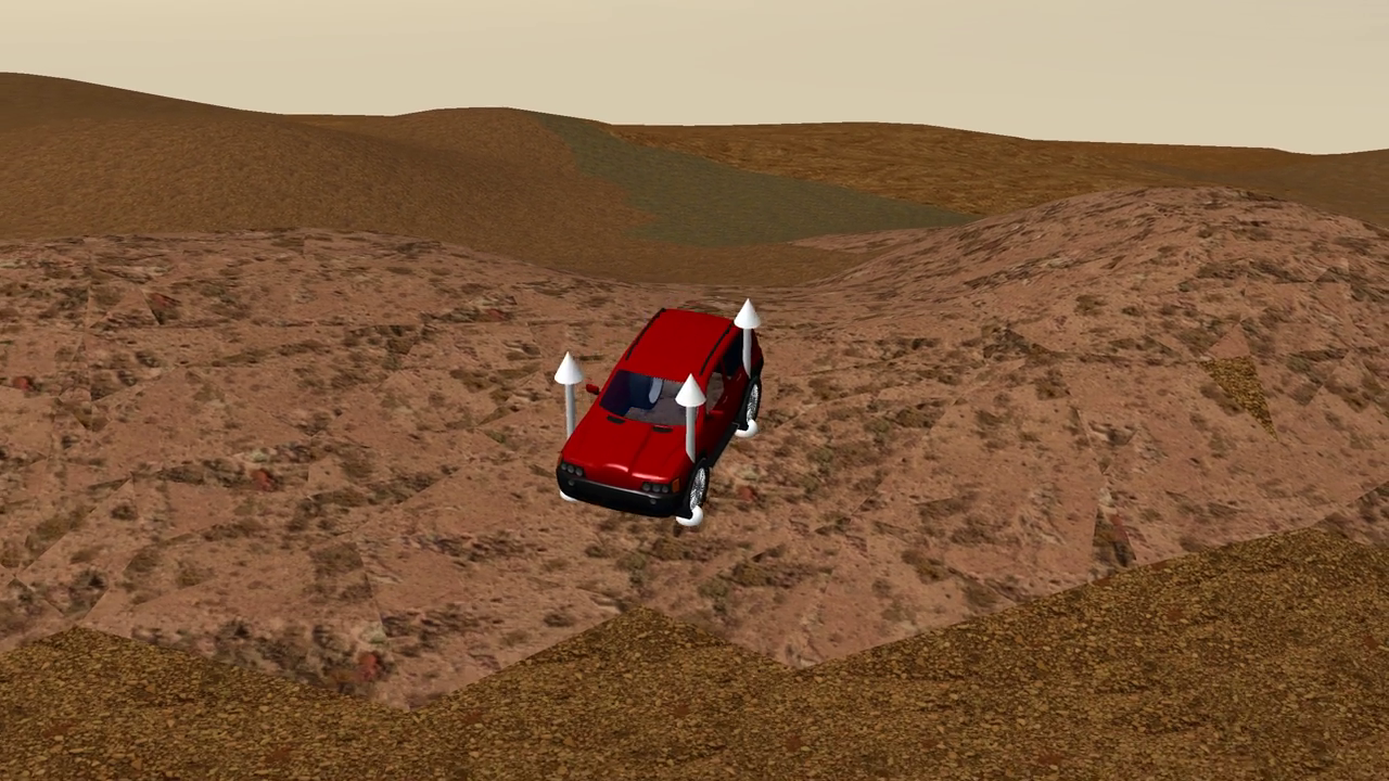 Offroad driving simulation with graphical contact search